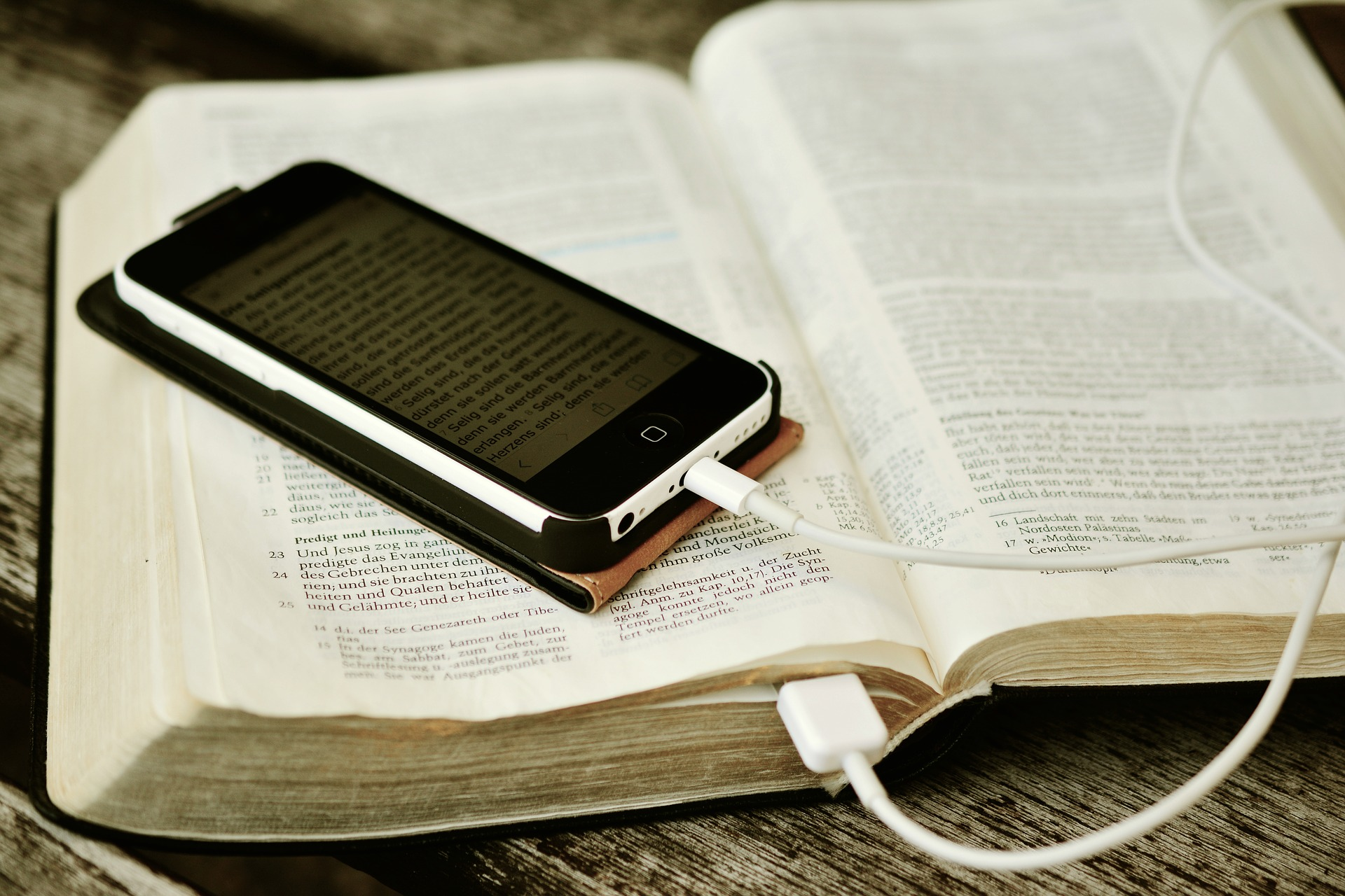 Bible charging iPhone
